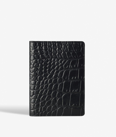 Passport Cover Crocodile Black