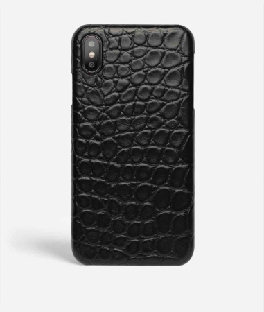 iPhone Xs Max Mobilskal Läder Croco Black Small