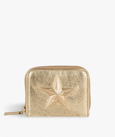 Zip Wallet Star Metallic Gold