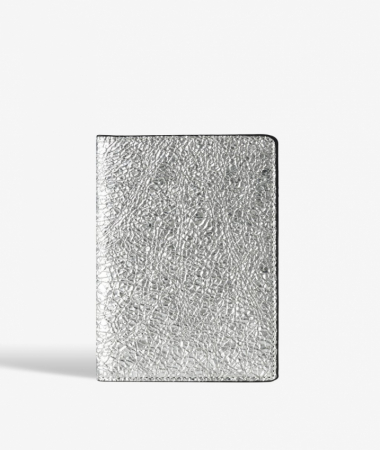 Passport Cover Crushed Metallic Silver