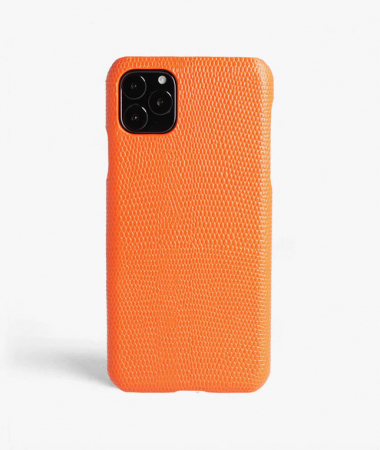 iPhone 11 Pro Max Mobilskal Läder Lizard Orange
