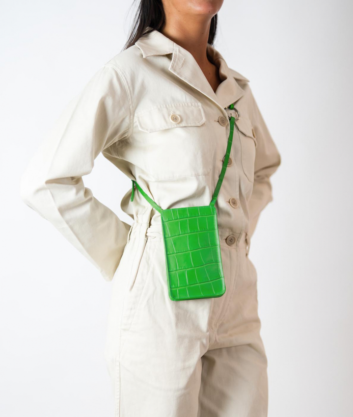 The Smart Crossbody Bag Crocodile Lime